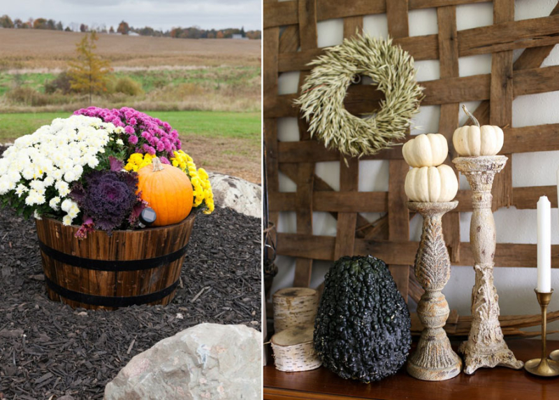 Whiskey barrel planter for fall,tobacco dryer and mini pumpkin decor