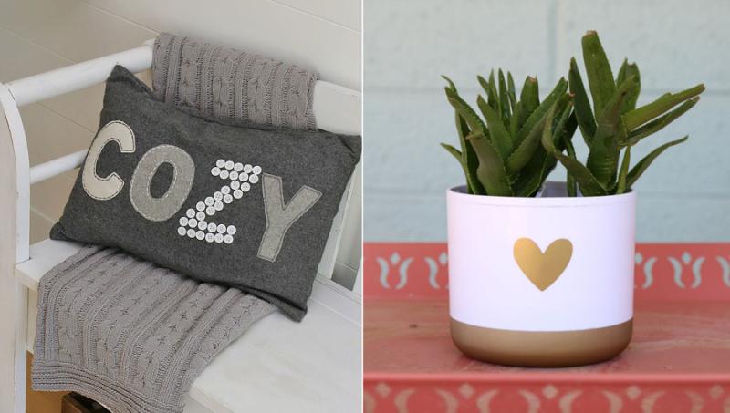Button letter word cozy pillow,succulent pot