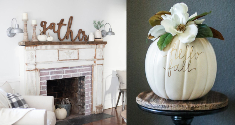 Mounting an antique mantle,pumpkin with magnolia