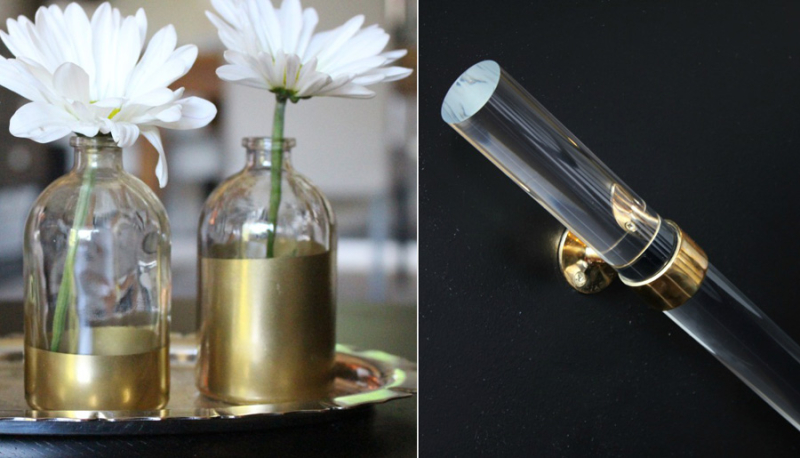 Gold dipped glass bottles, lucite handrail