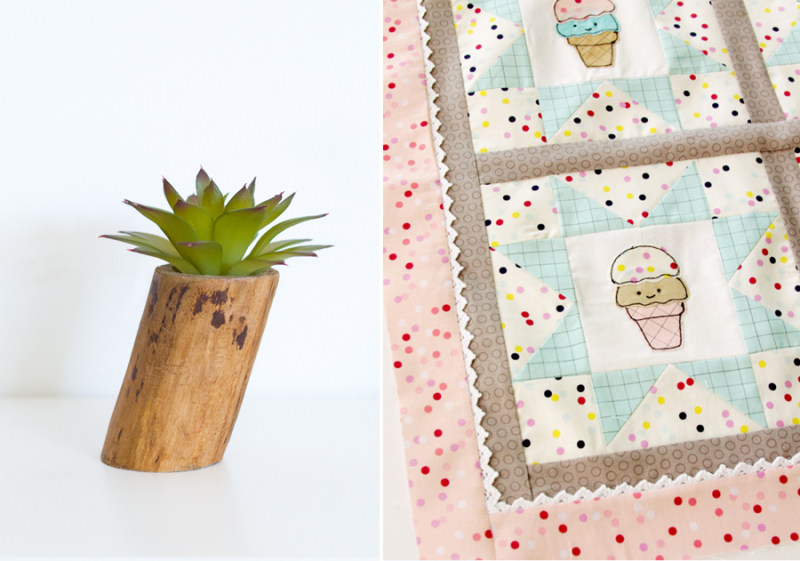 Ice cream cone embroidery quilt,faux succulet planter