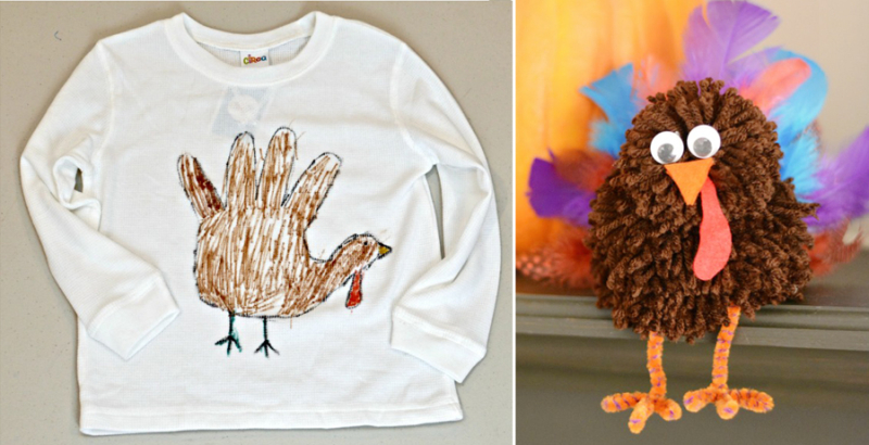 Pom pom turkey craft,hand print turkey shirt