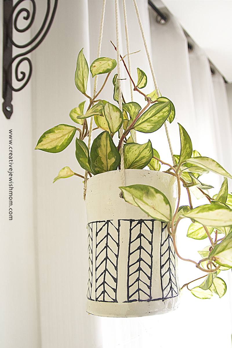 Ceramic Herringbone Pattern Plant Pot from Side