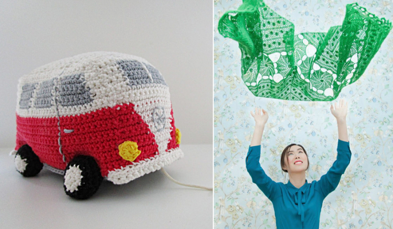 Crocheted VW bus music pull toy,crocheted fine shawl