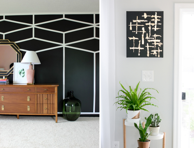 Black and white geometric feature wall.black and gold abstract gold leaf art