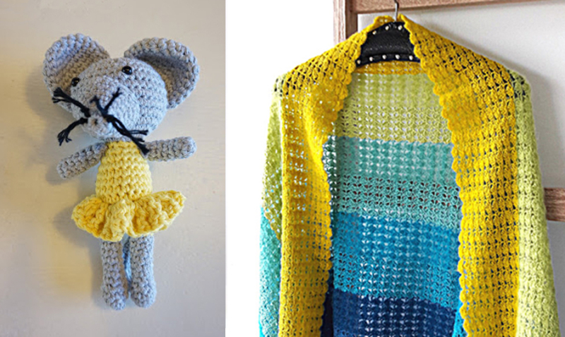 Crocheted amigurumi mouse, crocheted color block shawl
