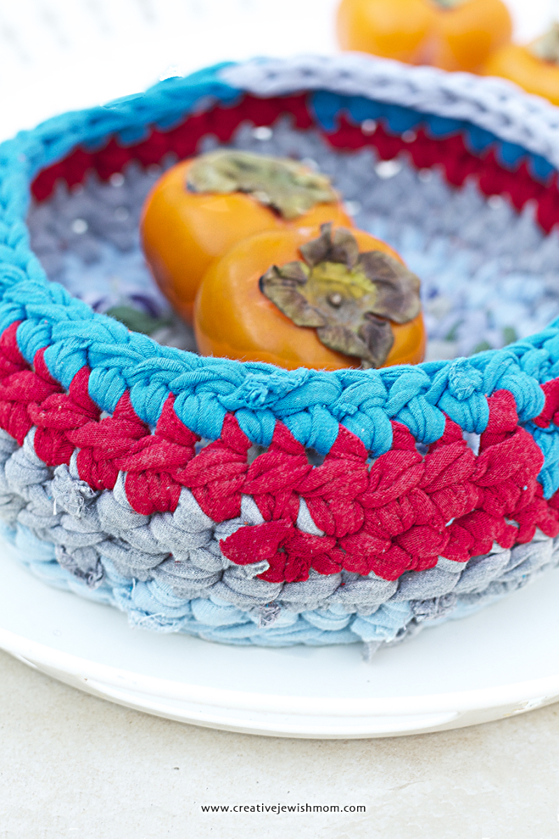 Crocheted Chunky Fruit Basket From T-Shirts