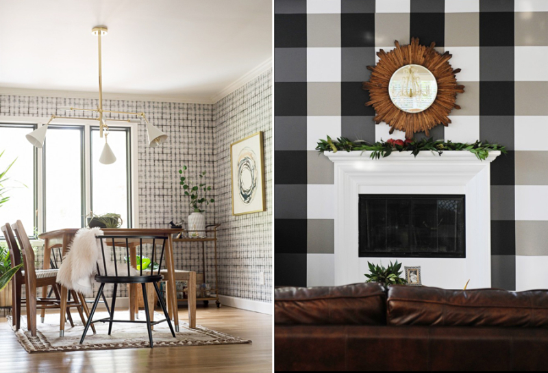 Buffalo plaid wallpaper with sheets of paper,how to hang wallpaper