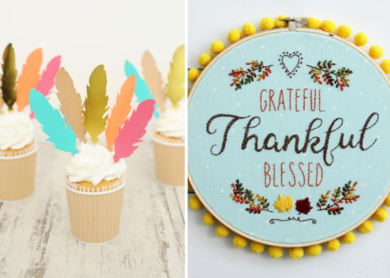 Thankful hoop embroidery art,feather cupcake toppers
