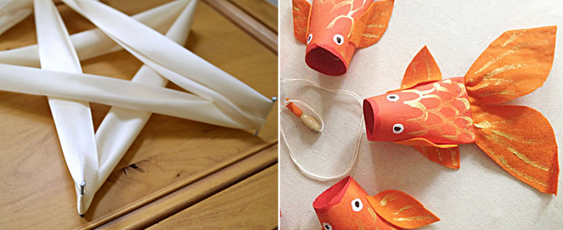 Toilet paper tube koi,ribbon and nails star