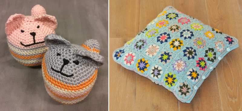 Granny square pillow,crocheted cat baby toy