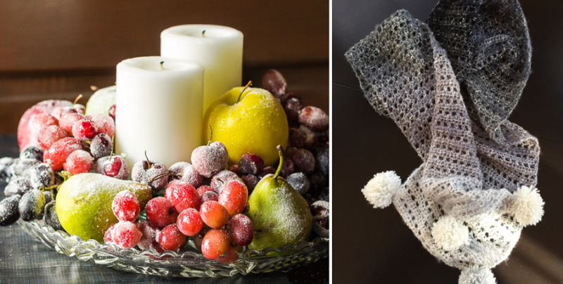 Sugared fruit centerpiece,crocheted scarf with pom poms