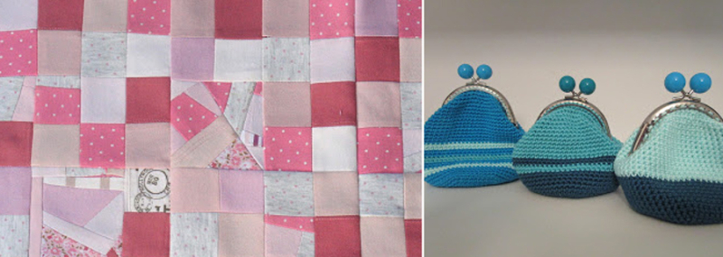 Mini memory quilt,crocheted coin purses