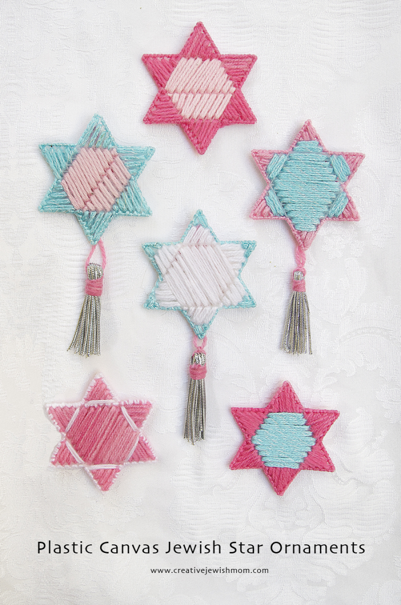 Plastic Canvas Jewish Star Ornaments