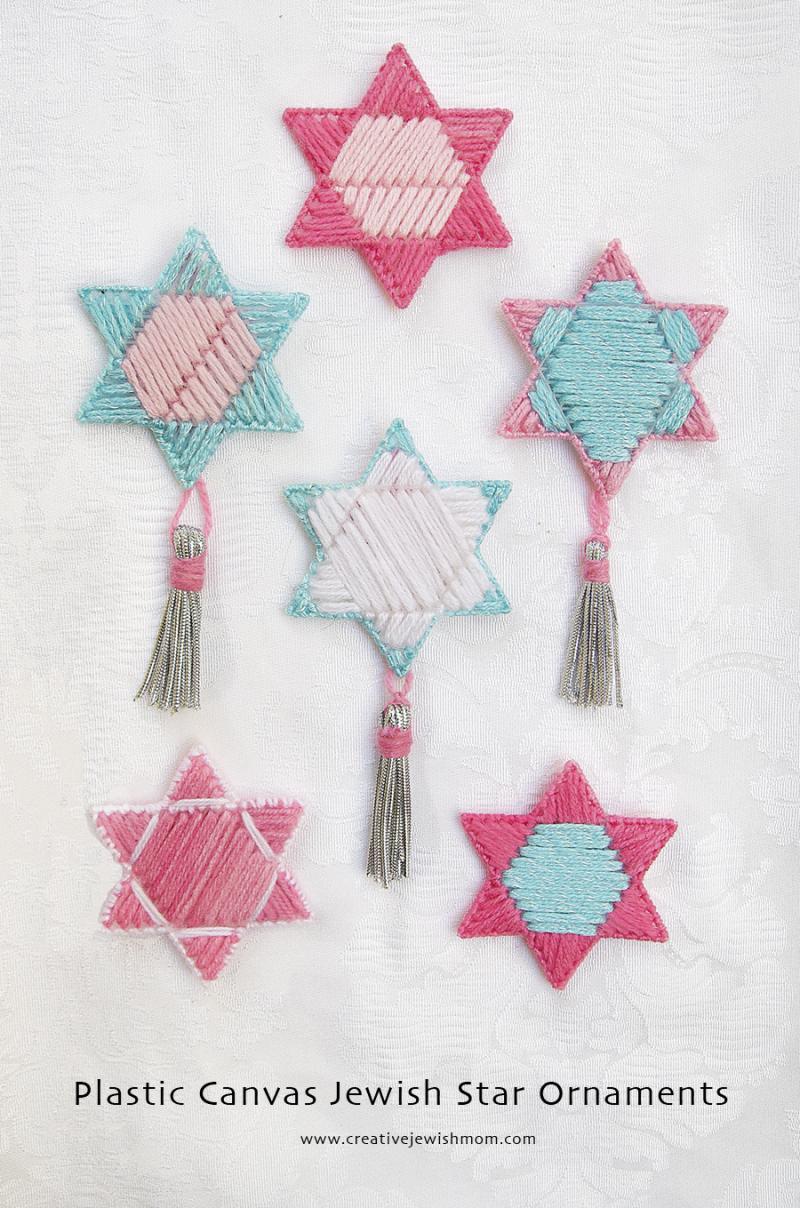 Plastic Canvas Jewish Star Ornaments