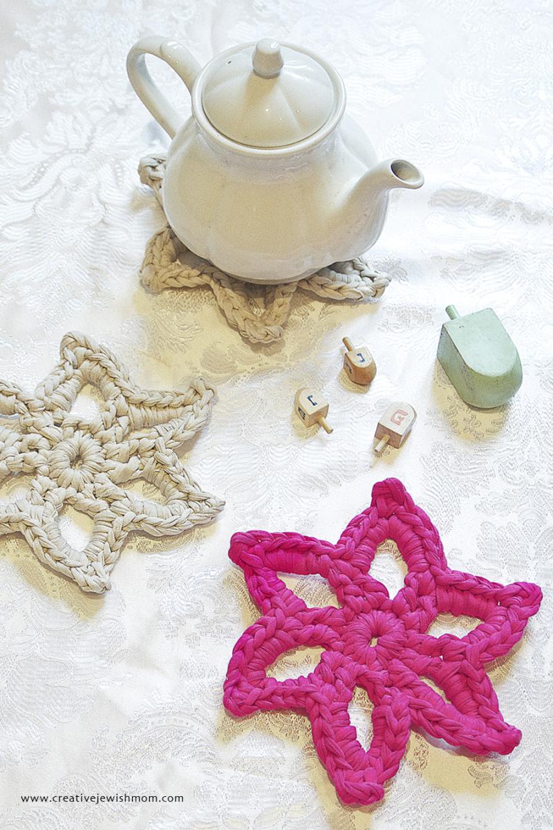 Crocheted T shirt yarn star trivet