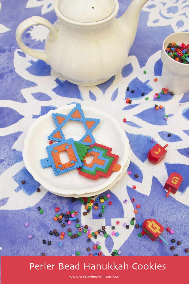 Hanukkah Tablecloth With Perler Bead Hanukkah Cookies