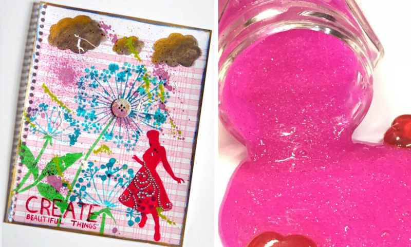 Pink glitter slime recipe,mixed media notebook cover