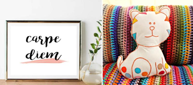 Stuffed embroidered cat pillowm carpe diem free printable