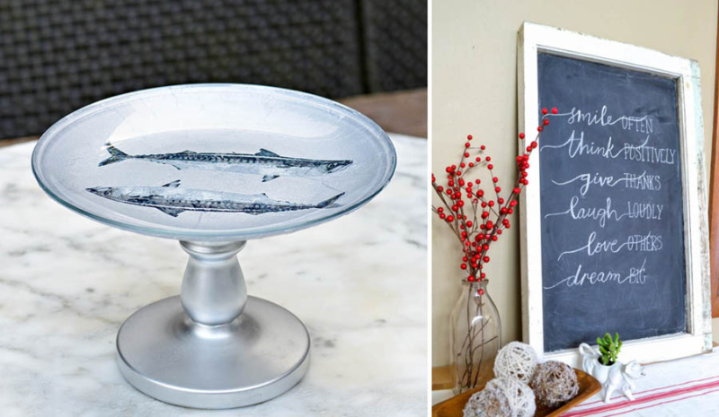 DIY cake stand Ikea hack, how to make a chalkboard from a window frame