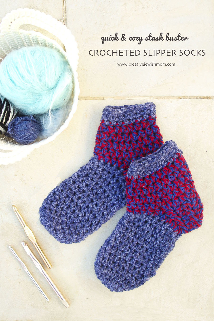 Chunky And Quick Crocheted Slipper Sock Pattern - creative jewish mom