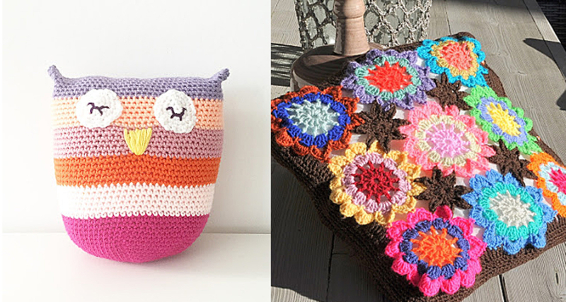 Crocheted owl pillow,crochted flowers and stars cushion cover