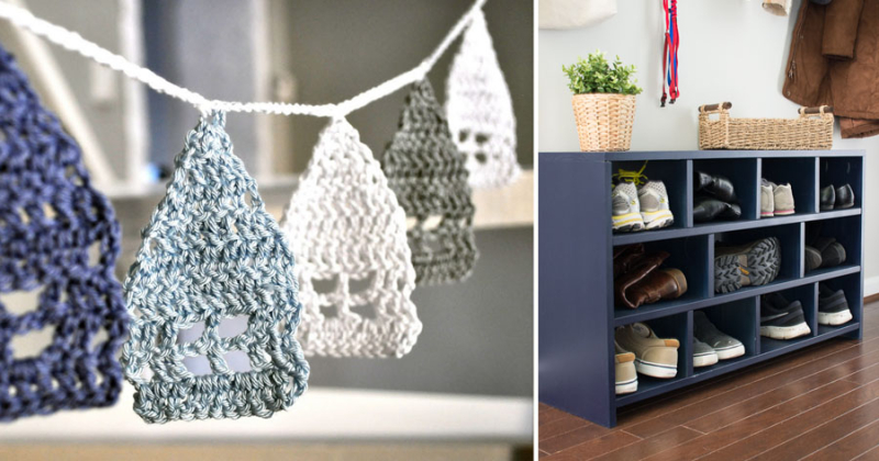 Crocheted house garland,DIY wood shoe cubby