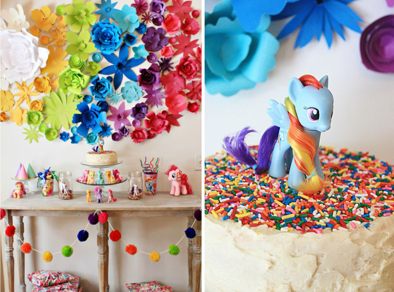 Paper flower rainbow wall, pony birthday cake