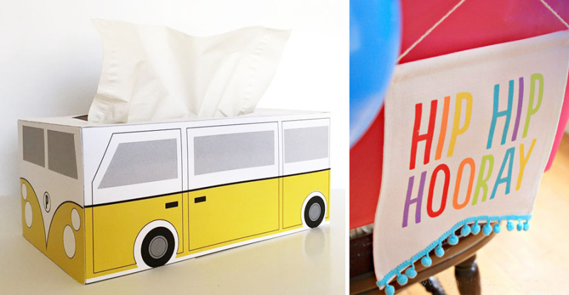 Vwbus tissue box,birthday chair banner