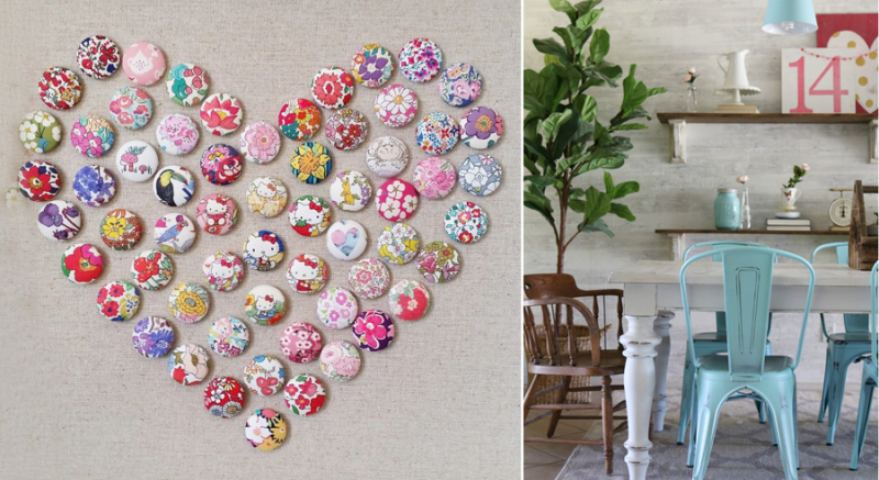 Liberty fabric covered buttons in heart shape