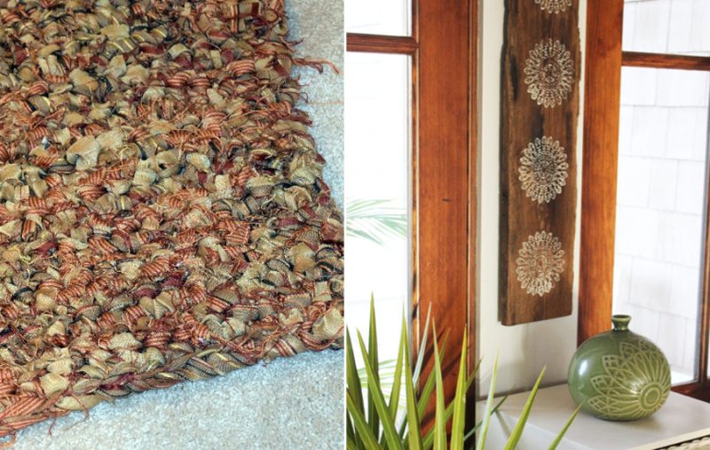Crocheted rag rug from curtain, stenciled wood wall art