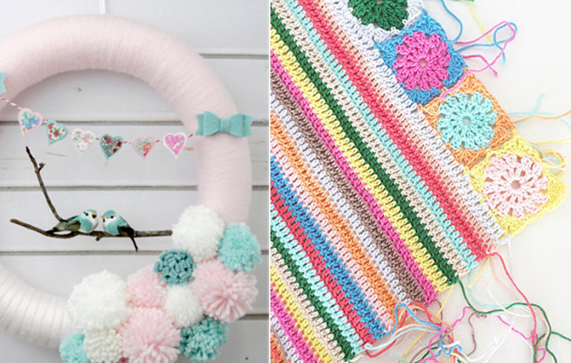 Pom pom wreath,crocheted stripes with squares border