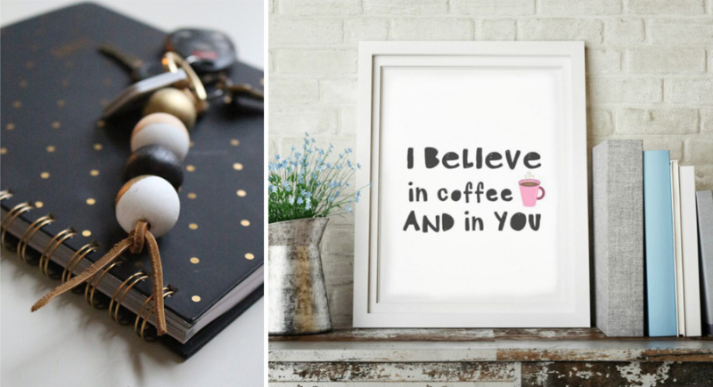 Wooden bead key chain,I believe in coffee printable