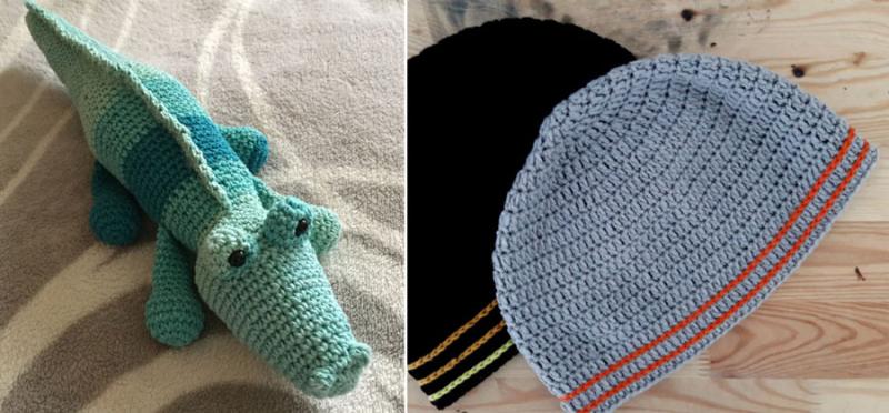 Crocheted alligator amigurumi,crocheted men's beanie