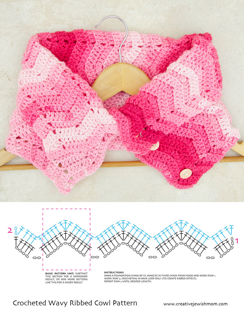 Crochet Wavy ribbed cowl pattern diagram