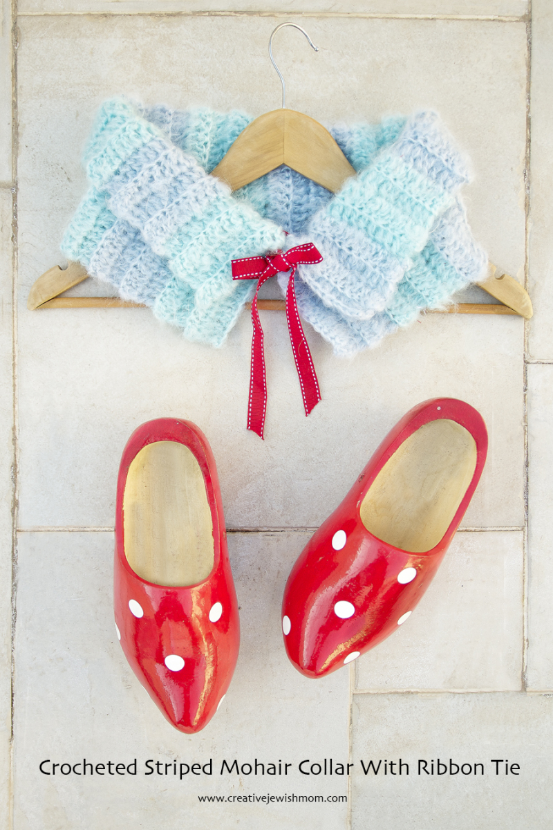 Crocheted Ribbed Collar Mohair
