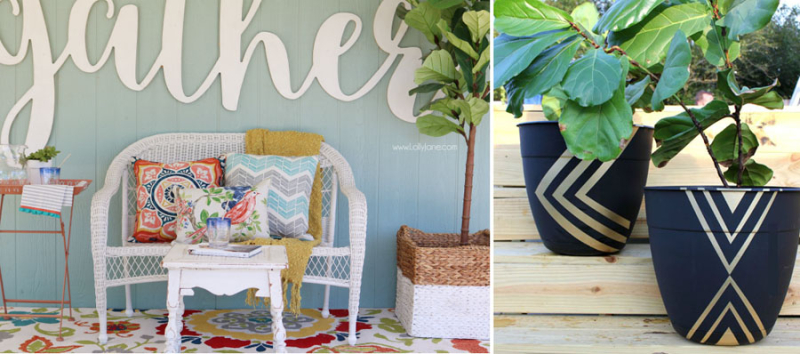 DIY painted geometric planters,spring porch decor