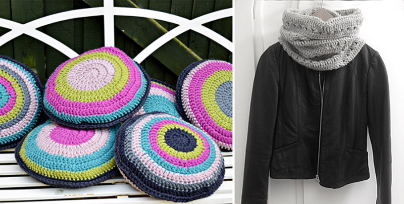 Crocheted triple crochet cowl,round chair cushions