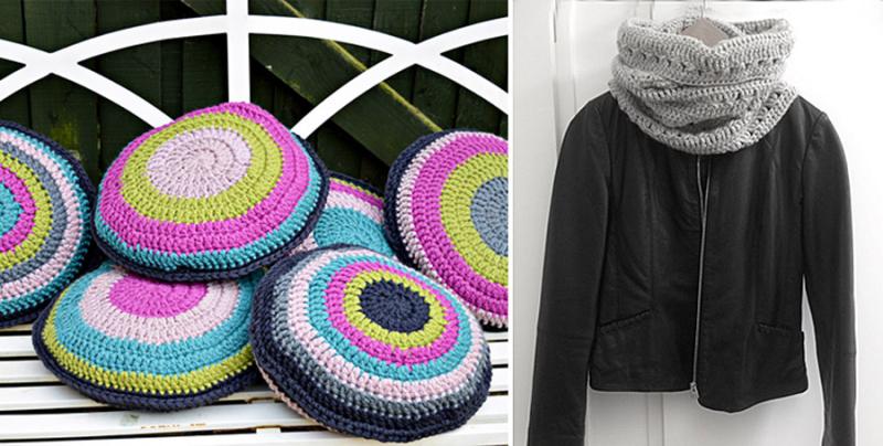 Crocheted triple crochet cowl,round chair cushions