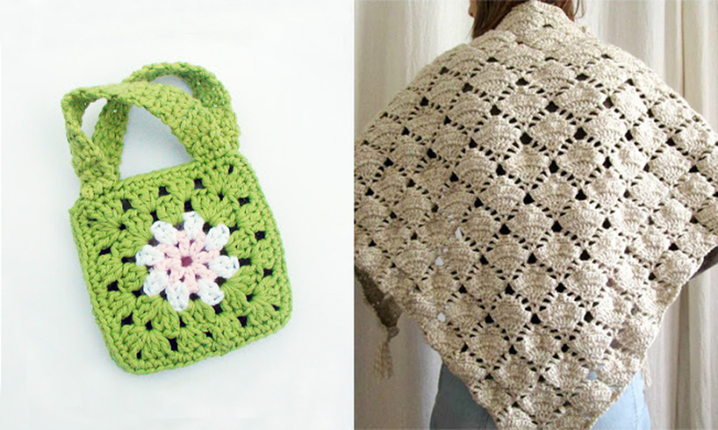How to sew together granny squares,crocheted fan stitch shawl