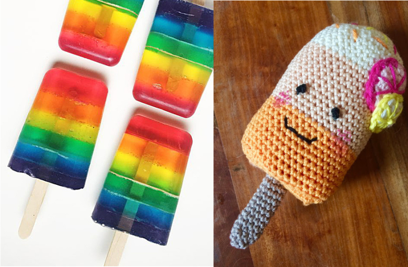 Crocheted popsicle baby rattle rainbow popsicle soap bars