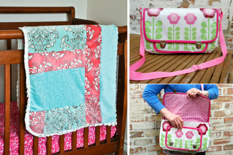 Color block baby blanket quilt oil cloth messenger bag tutorial