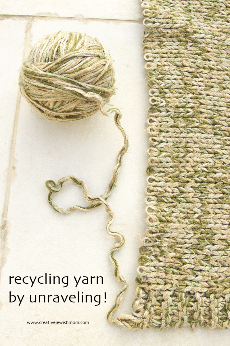 Recycling Yarn by unraveling knit blanket