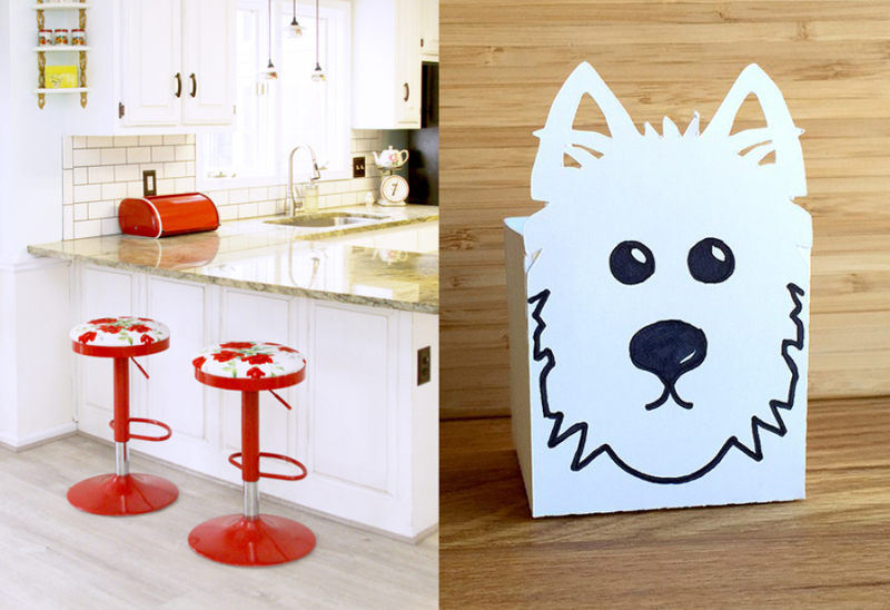 Simple scottie dog gift box red and white vintage style kitchen