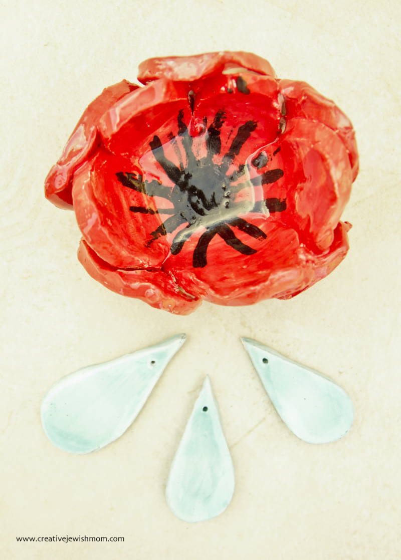 Red poppy ceramic kid's craft
