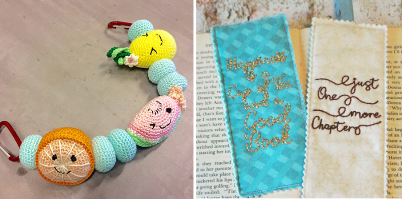 Embroidered book marks crocheted stroller toy