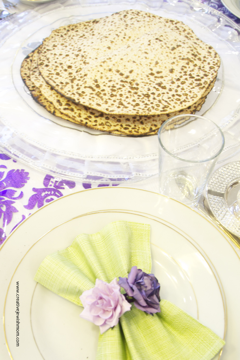 Passover Table with hand made round matzoh