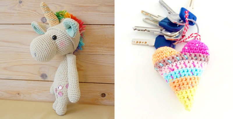Crocheted unicorn doll crocheted heart key chain