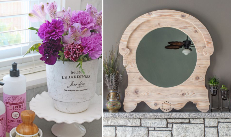 DIY french country style wooden mirror french style flower pot