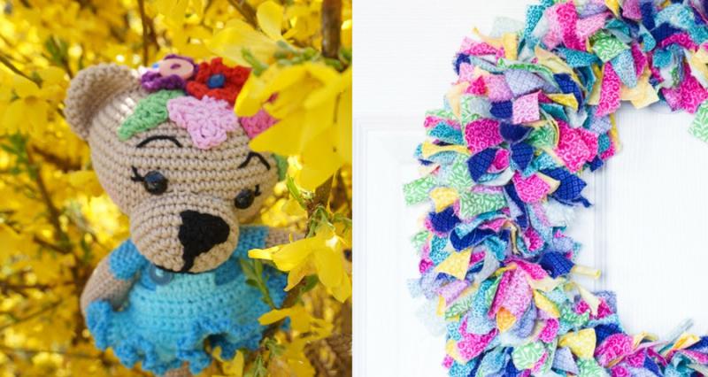Crocheted bear amigurumi tied rag wreath